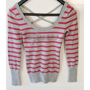 5/$20 Guess Red & Gray Striped Top